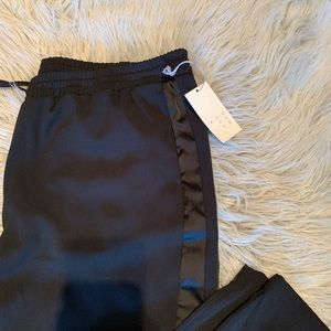 a new day Pants - NWT • black jogger with faux satin stripe
